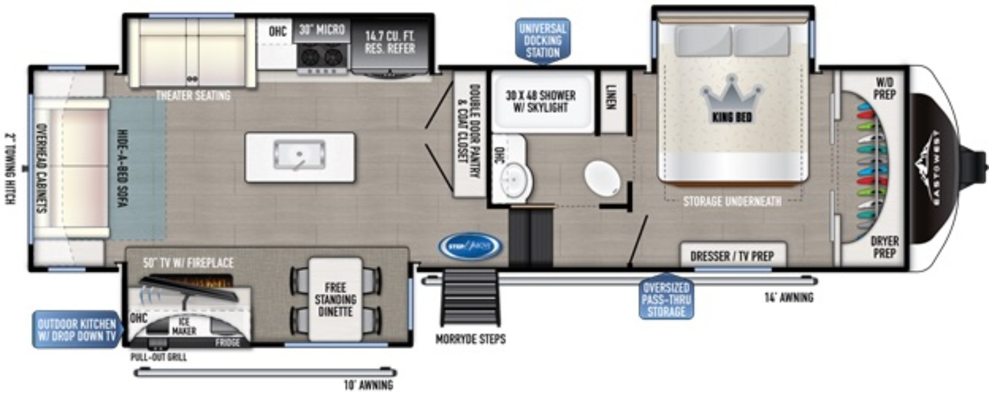 View Floor Plan for 2021 EAST TO WEST TANDARA 321RL-OK