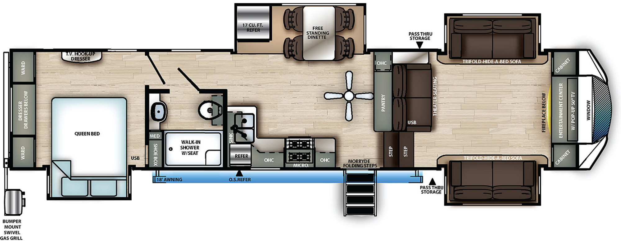 View Floor Plan for 2021 FOREST RIVER SANDPIPER C-CLASS 3770FL