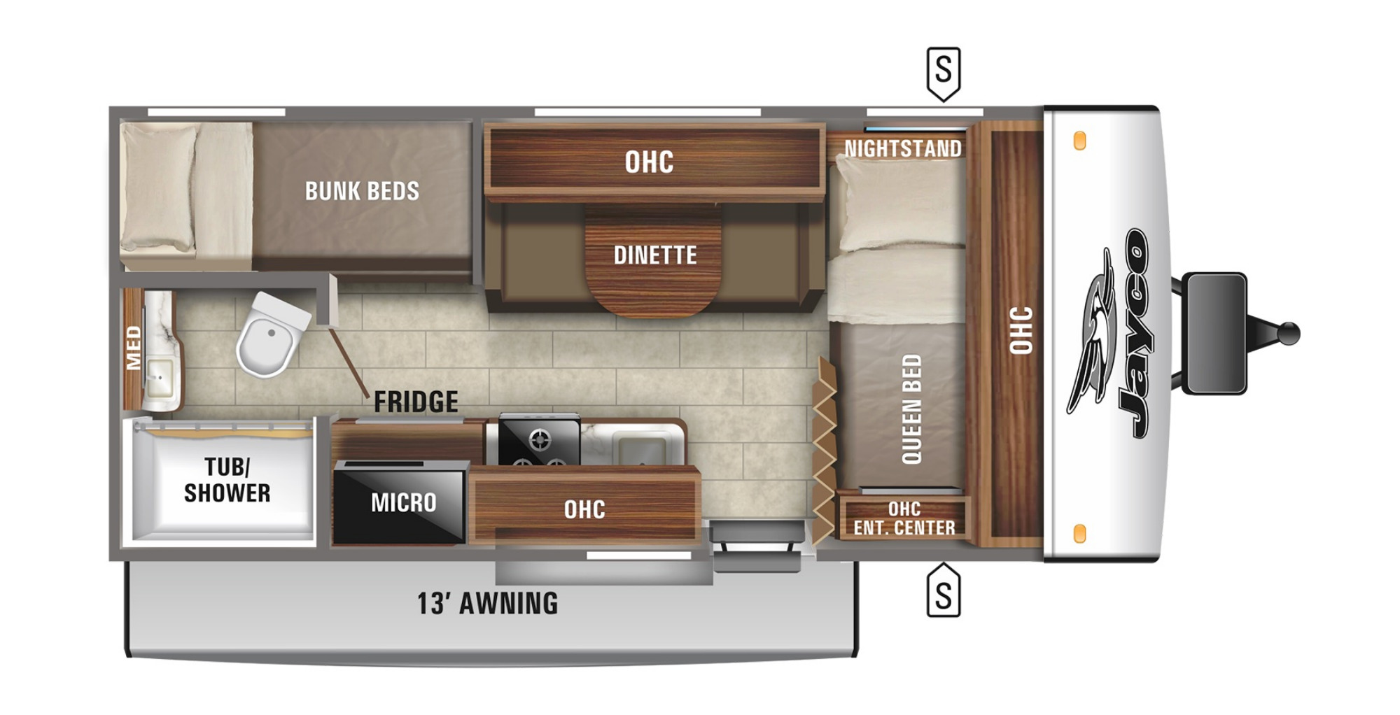 View Floor Plan for 2021 JAYCO JAY FEATHER MICRO 171BH