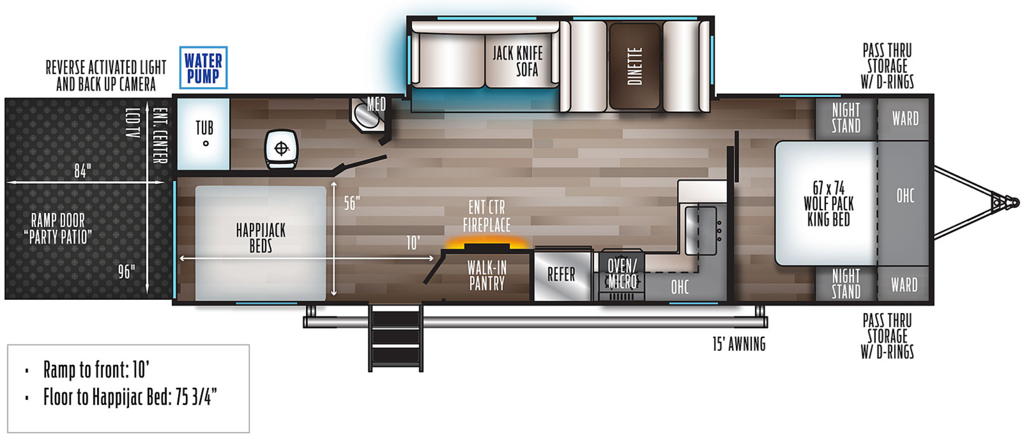 View Floor Plan for 2021 FOREST RIVER WOLF PACK 27PACK10
