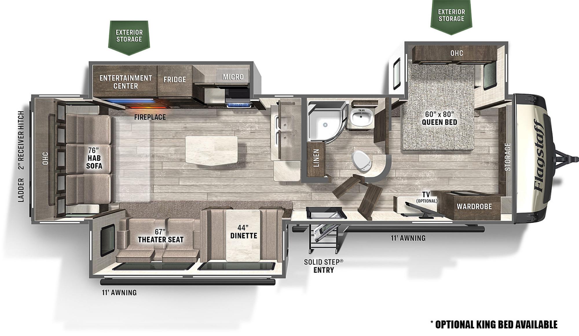 View Floor Plan for 2021 FOREST RIVER FLAGSTAFF SUPER LITE 29RLBS