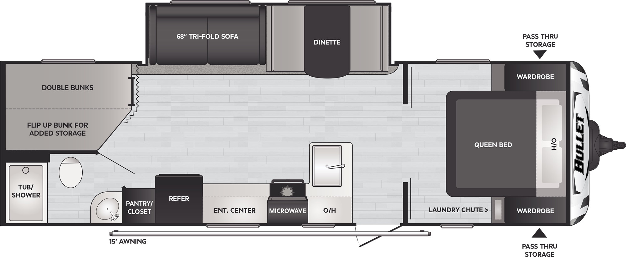 View Floor Plan for 2021 KEYSTONE BULLET CROSSFIRE 2730BH