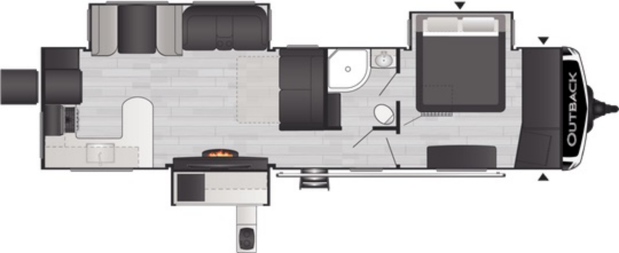 View Floor Plan for 2021 KEYSTONE OUTBACK 332ML