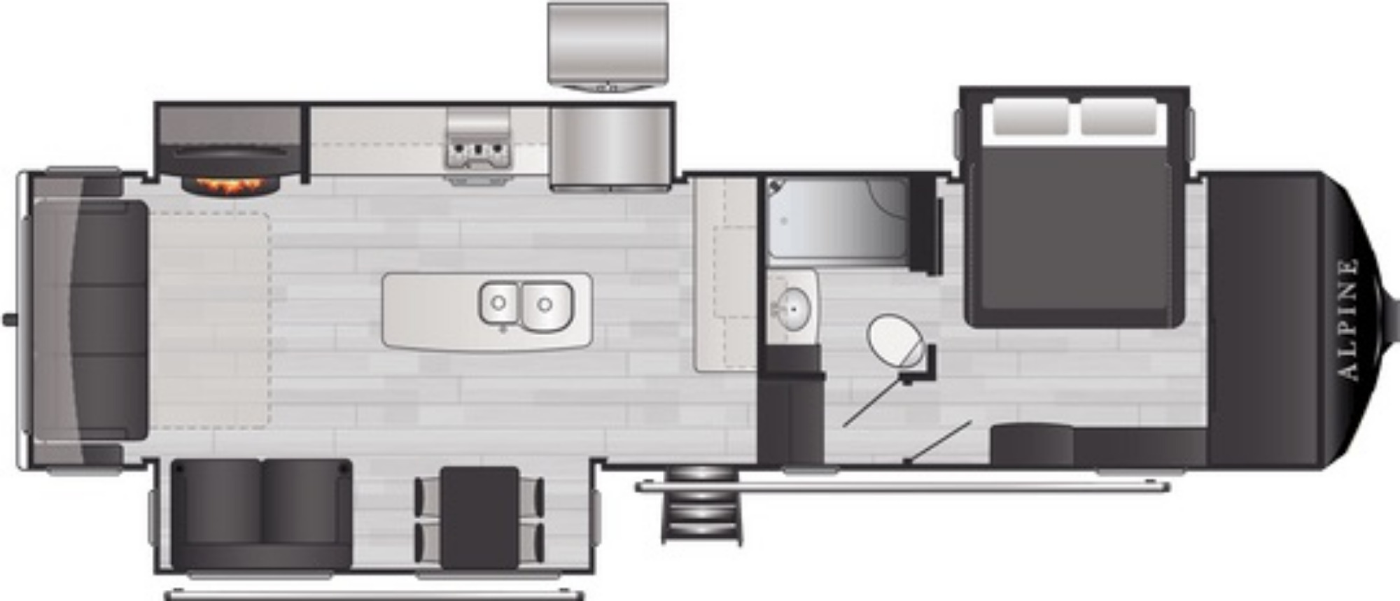 View Floor Plan for 2021 KEYSTONE ALPINE 3220RL