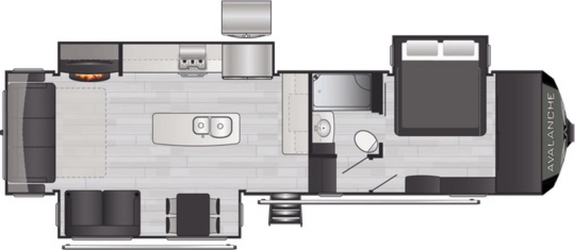 View Floor Plan for 2021 KEYSTONE AVALANCHE 322RL