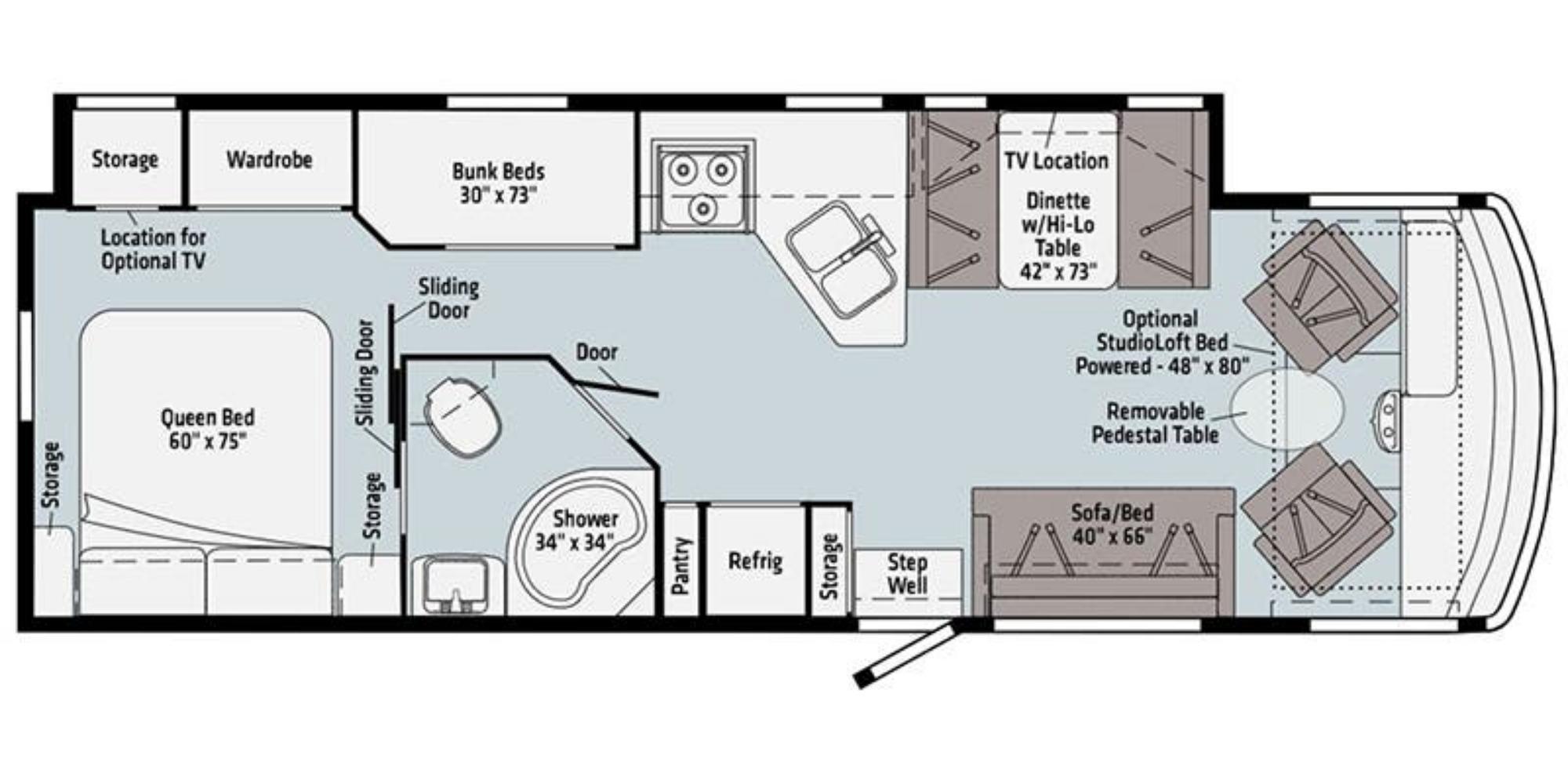View Floor Plan for 2021 WINNEBAGO VISTA 31B