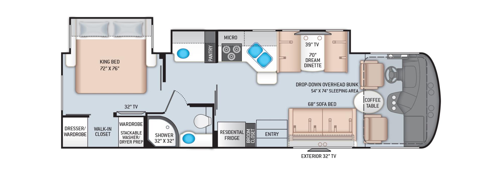 View Floor Plan for 2021 THOR WINDSPORT 31C