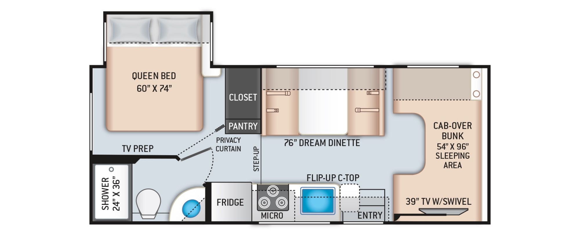 View Floor Plan for 2021 THOR COLEMAN 22CMF