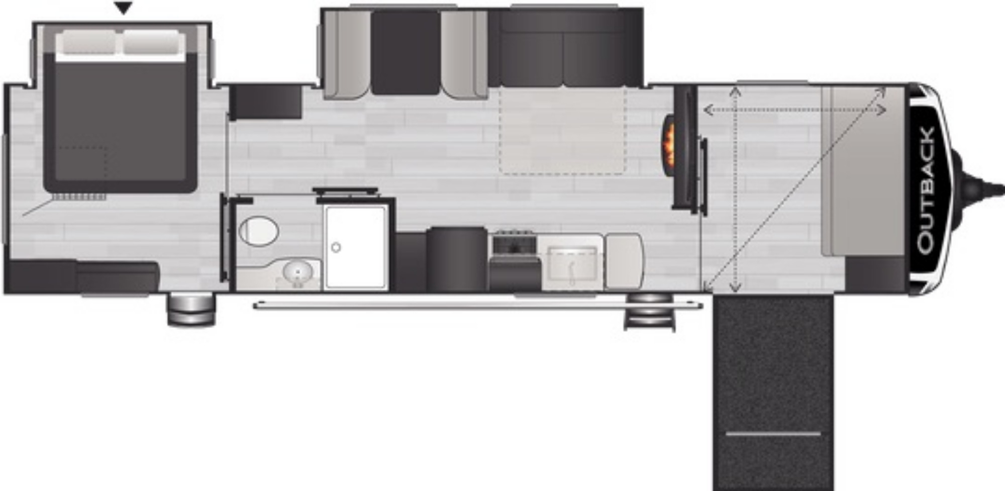 View Floor Plan for 2021 KEYSTONE OUTBACK 342CG