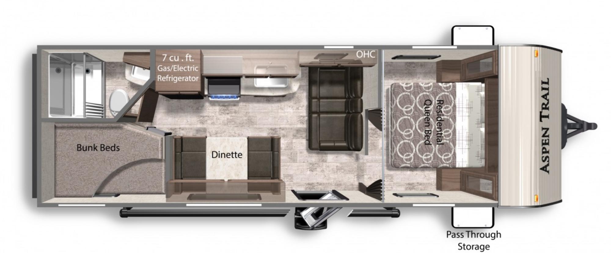 View Floor Plan for 2021 DUTCHMEN ASPEN TRAIL LE 25BH