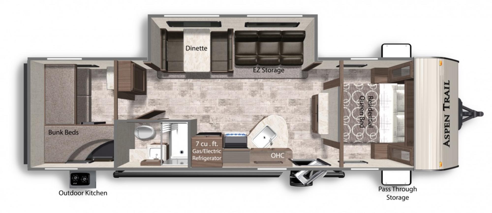 View Floor Plan for 2021 DUTCHMEN ASPEN TRAIL LE 29BH