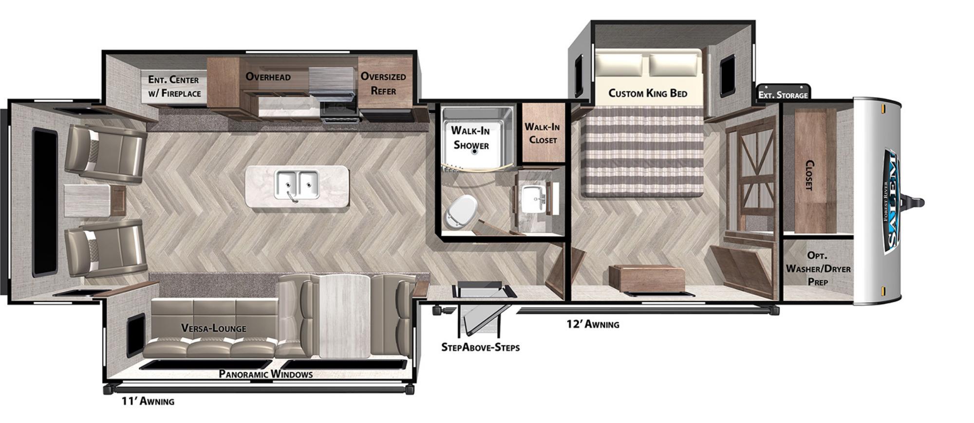 View Floor Plan for 2021 FOREST RIVER SALEM 32RET