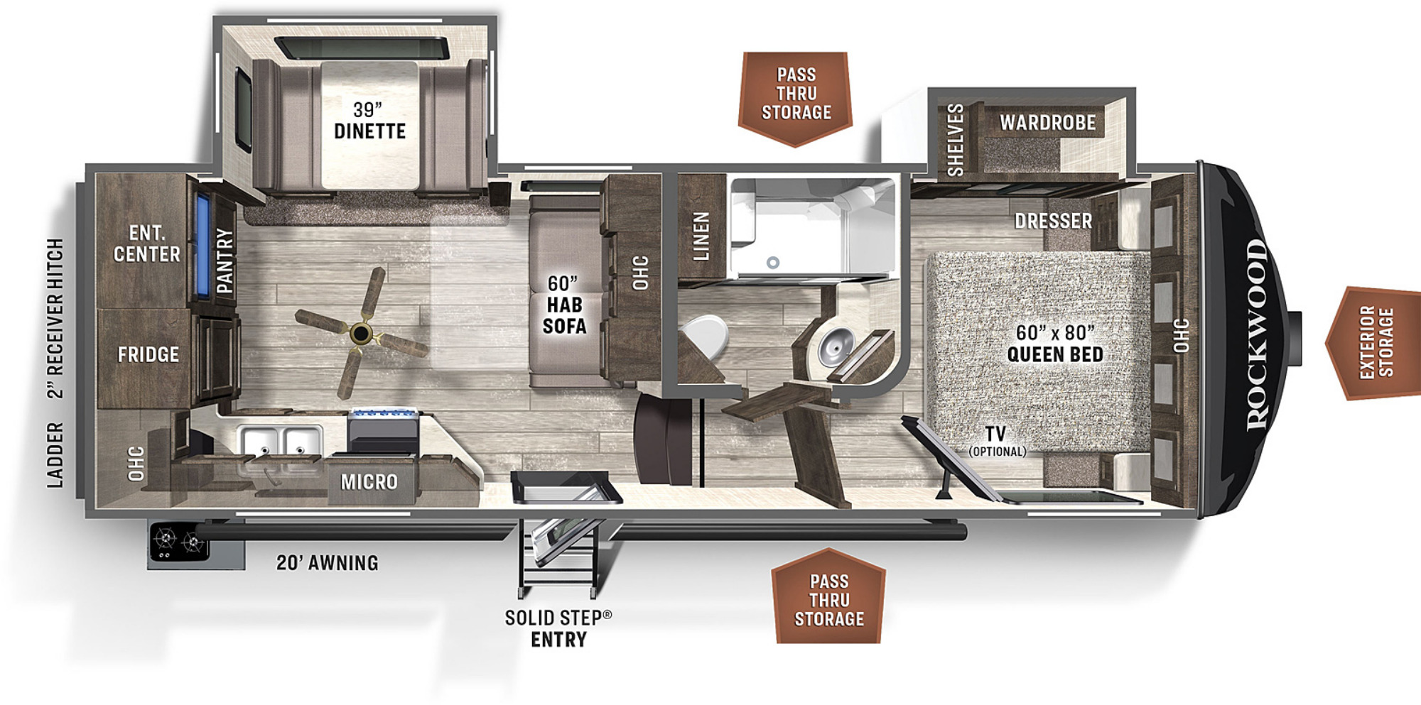 View Floor Plan for 2021 FOREST RIVER ROCKWOOD ULTRA LITE 2445WS