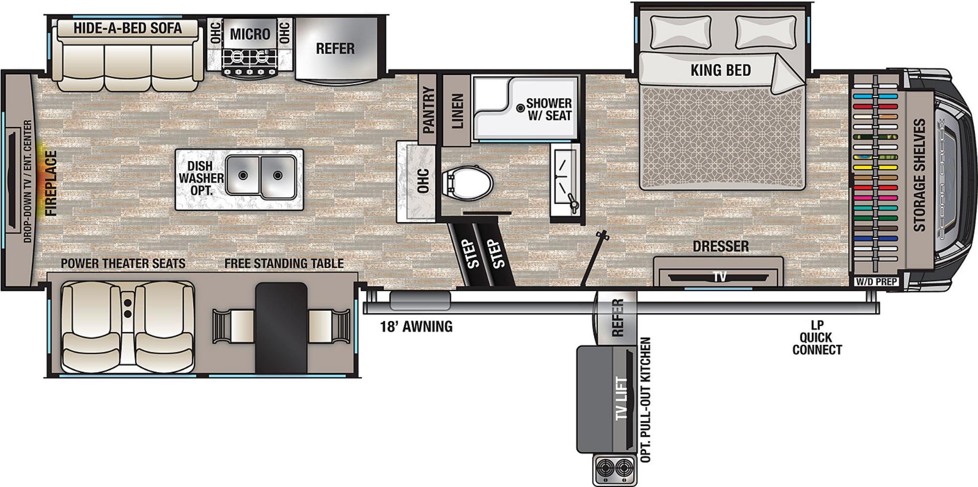 View Floor Plan for 2021 FOREST RIVER CEDAR CREEK 291RW