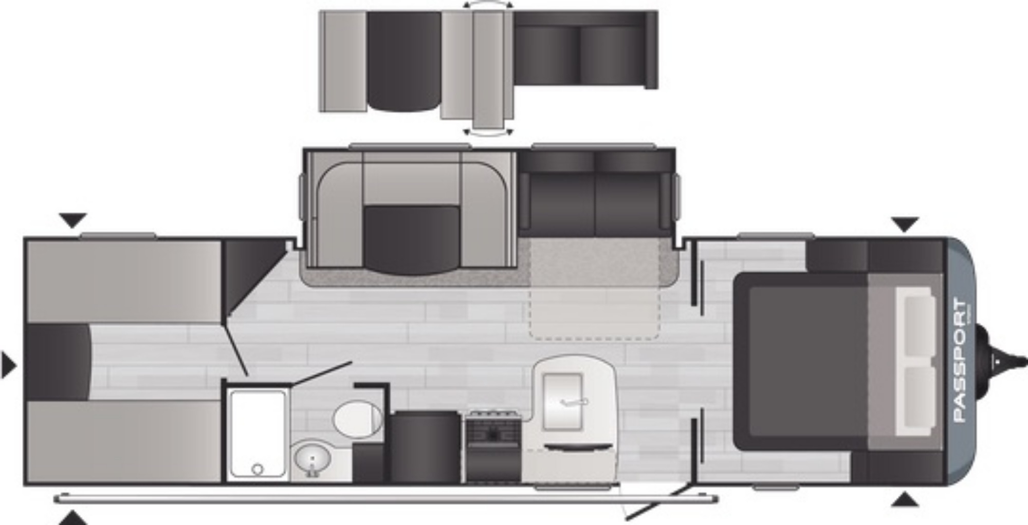 View Floor Plan for 2021 KEYSTONE PASSPORT 282QB