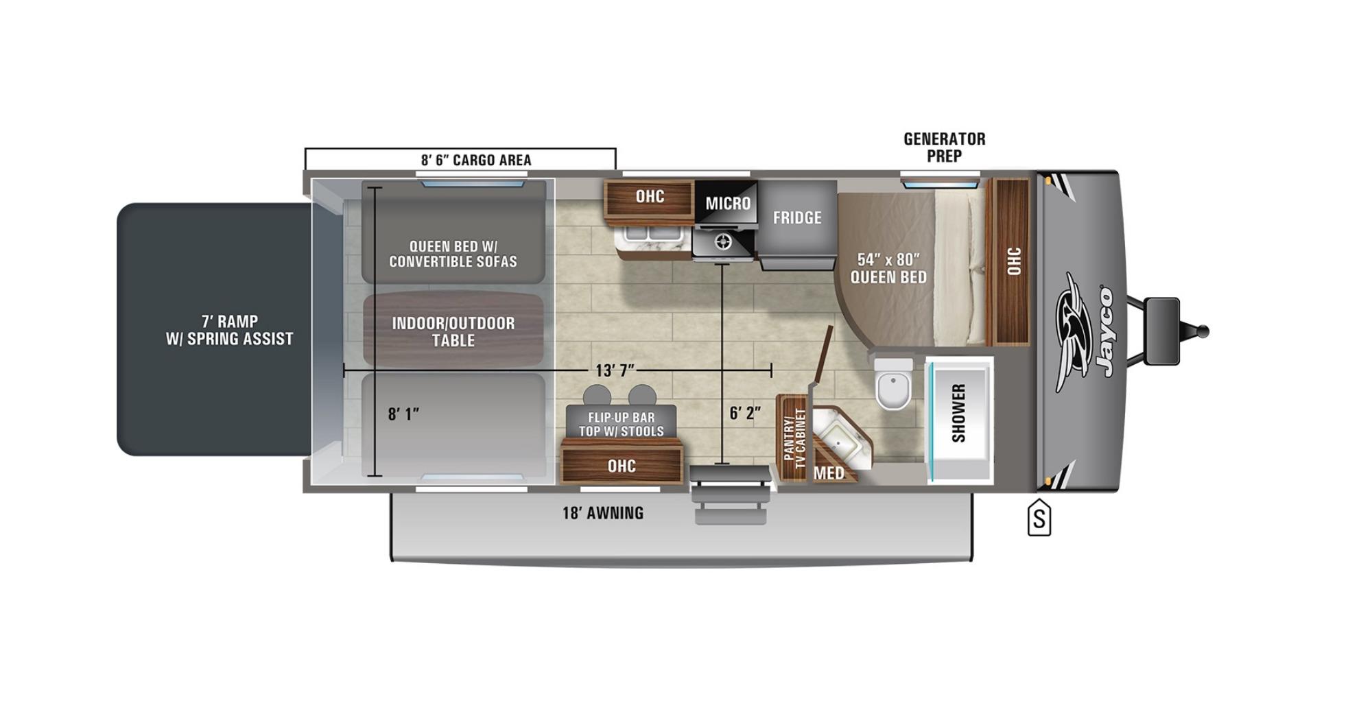 View Floor Plan for 2021 JAYCO JAY FLIGHT OCTANE 222