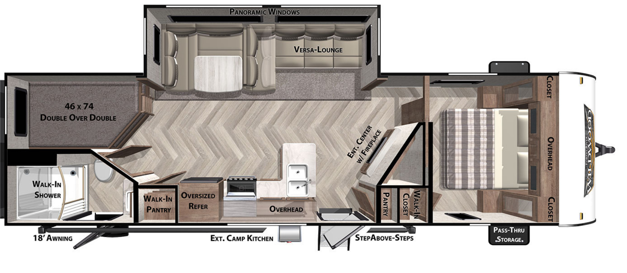 View Floor Plan for 2021 FOREST RIVER WILDWOOD 26DBUDC