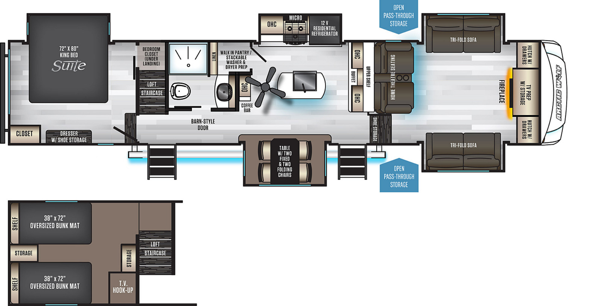 View Floor Plan for 2021 FOREST RIVER ARCTIC WOLF 3990