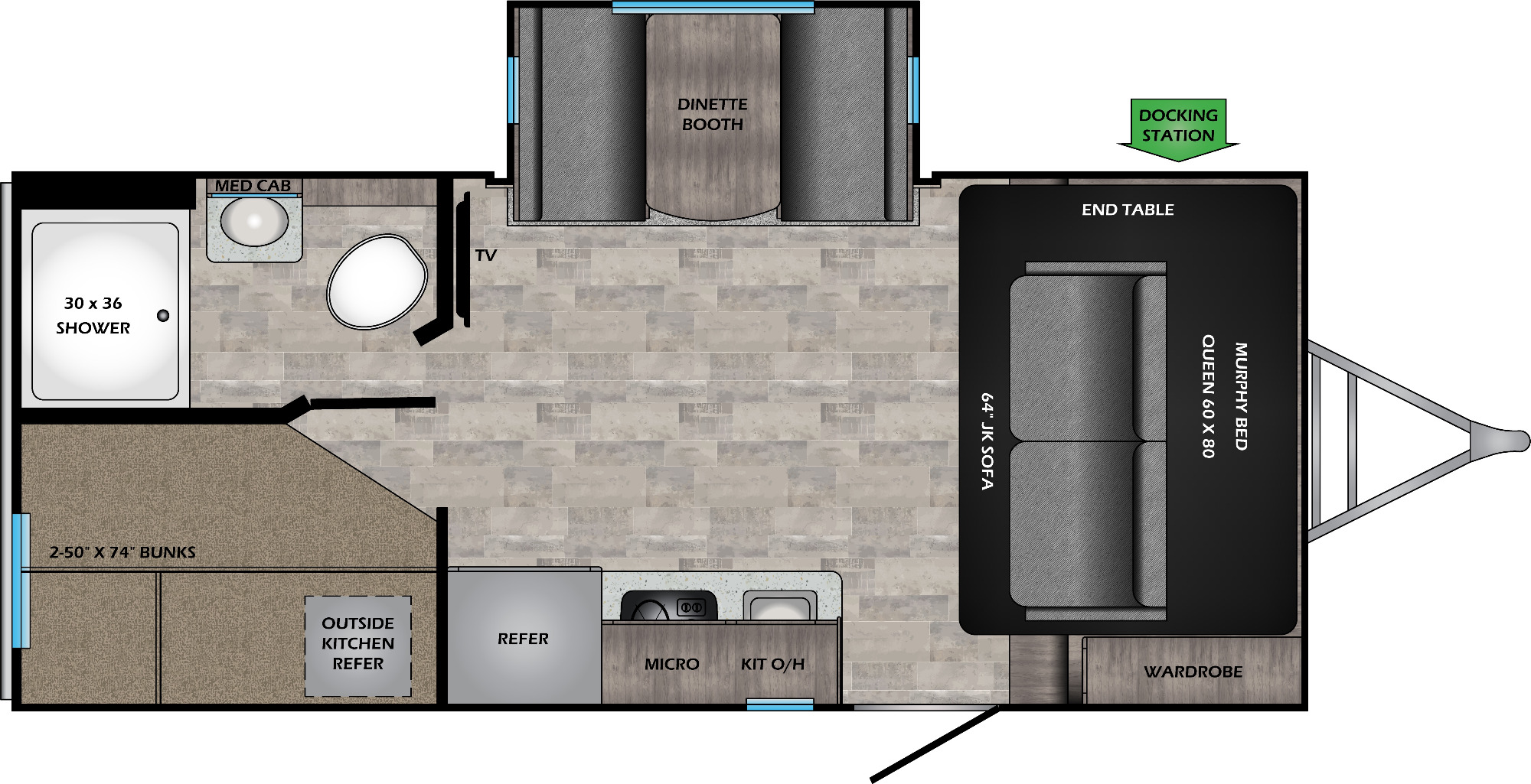 View Floor Plan for 2021 CROSSROADS SUNSET TRAIL 188BH