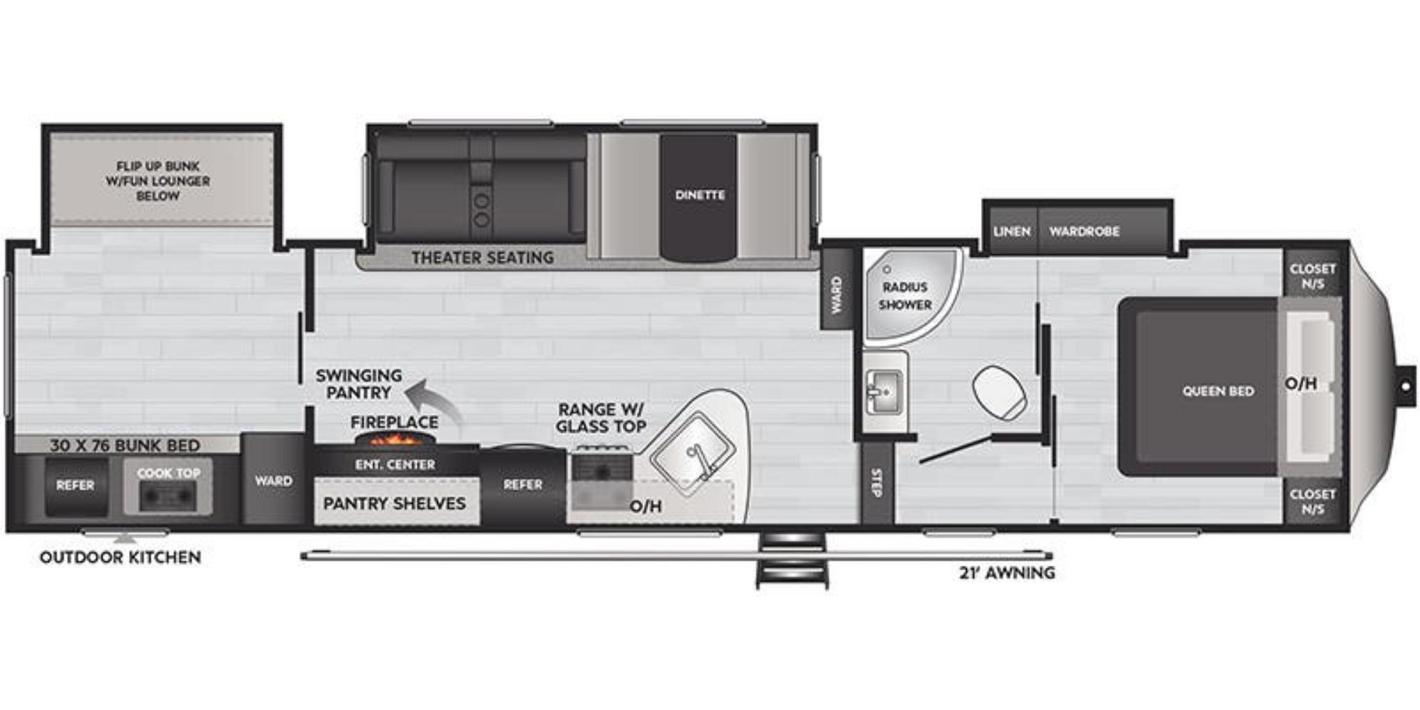 View Floor Plan for 2021 KEYSTONE SPRINGDALE 340FWBH