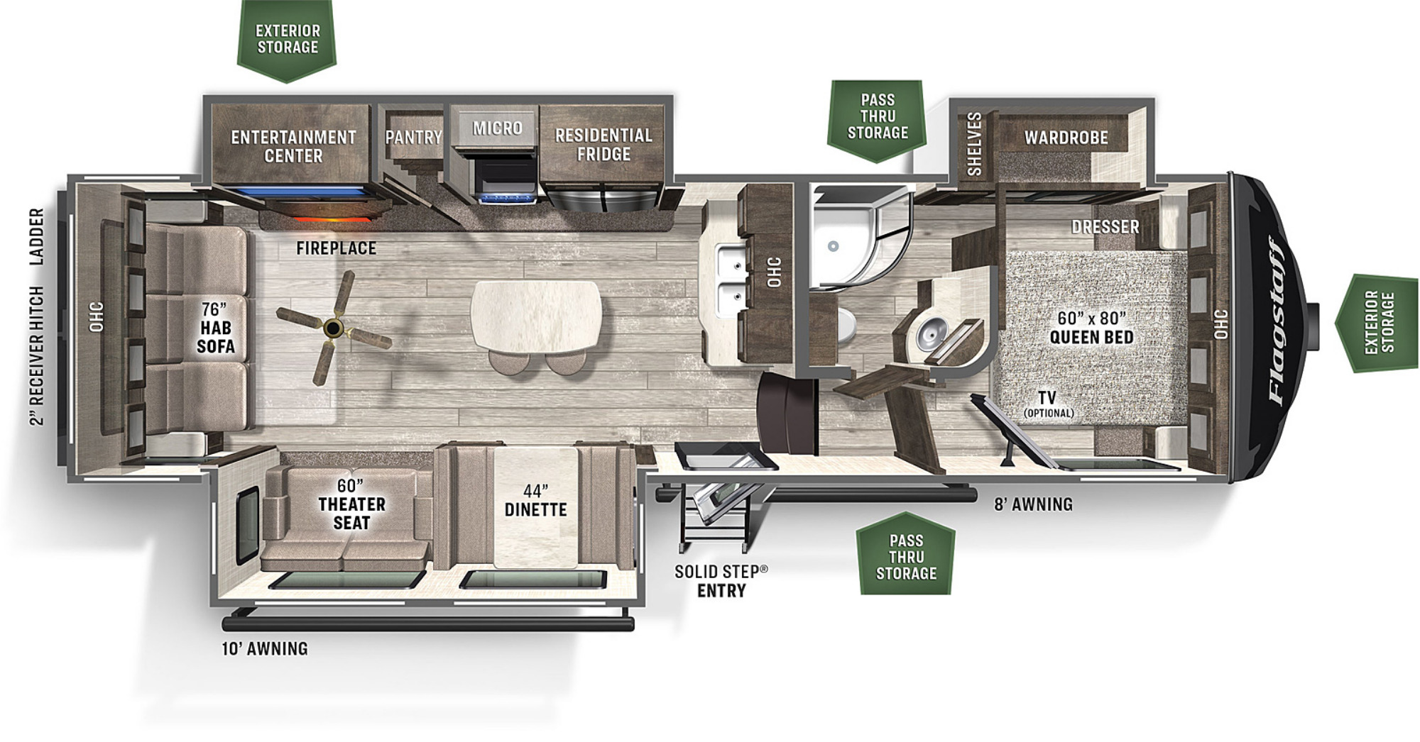 View Floor Plan for 2021 FOREST RIVER FLAGSTAFF SUPER LITE 528IKRL