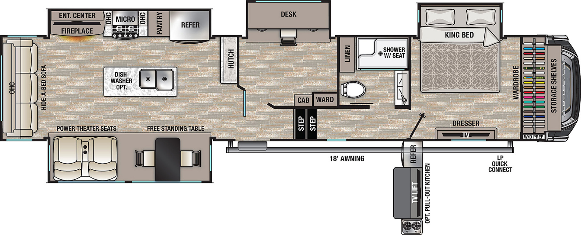 View Floor Plan for 2021 FOREST RIVER CEDAR CREEK 377OF