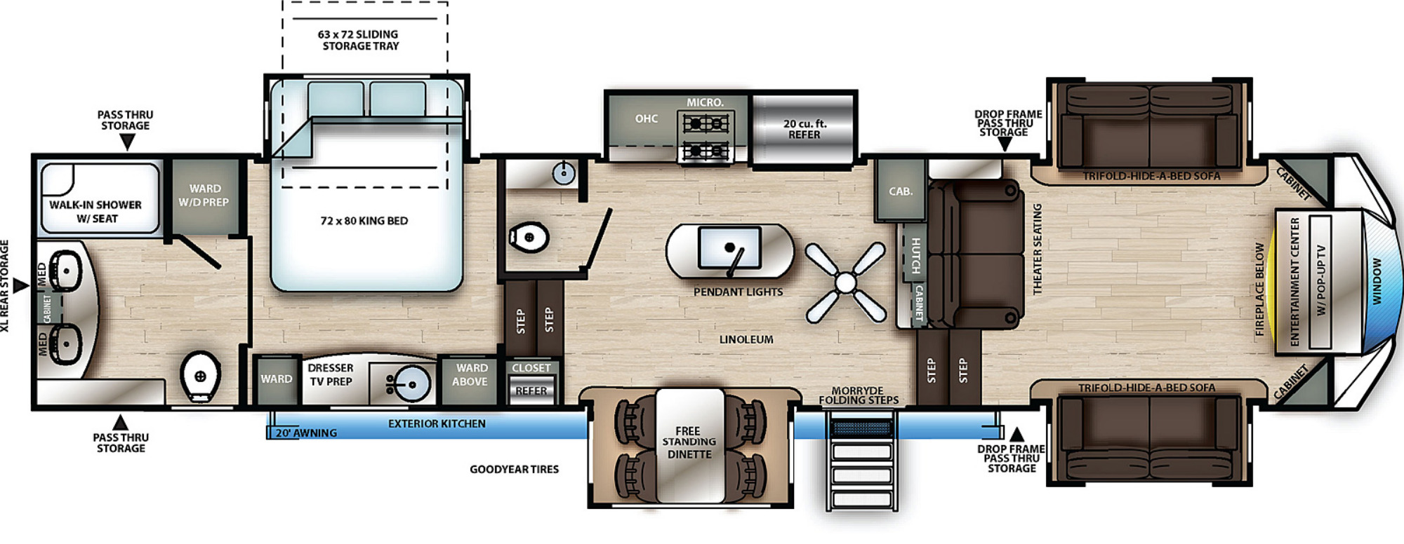 View Floor Plan for 2021 FOREST RIVER SANDPIPER 391FLRB