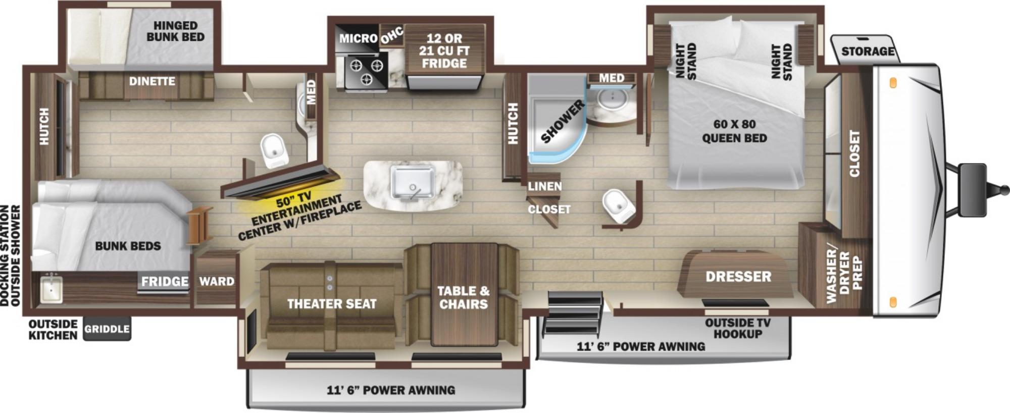 View Floor Plan for 2021 HIGHLAND RIDGE MESA RIDGE 338BHS