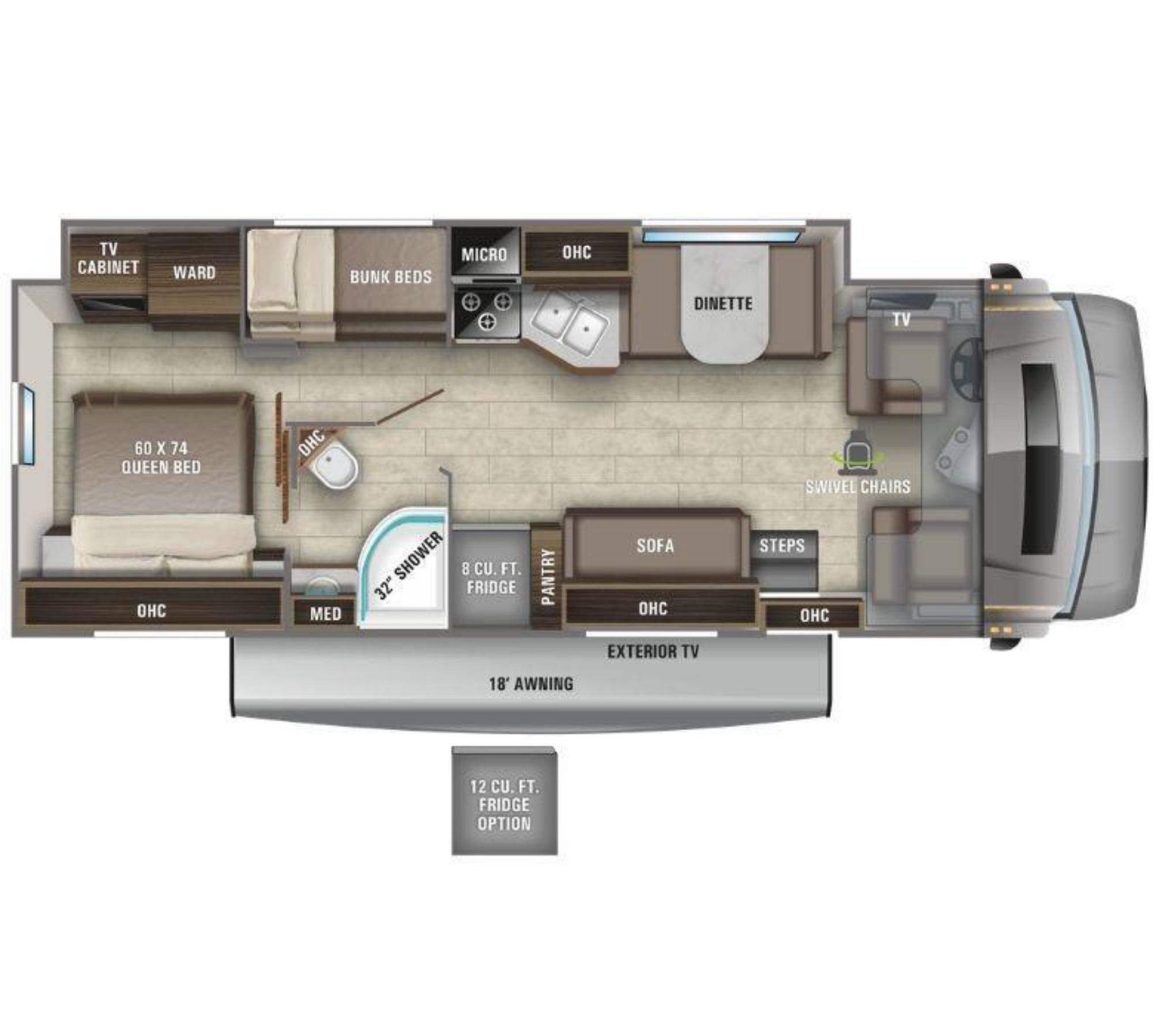 View Floor Plan for 2021 ENTEGRA COACH ESTEEM 31F