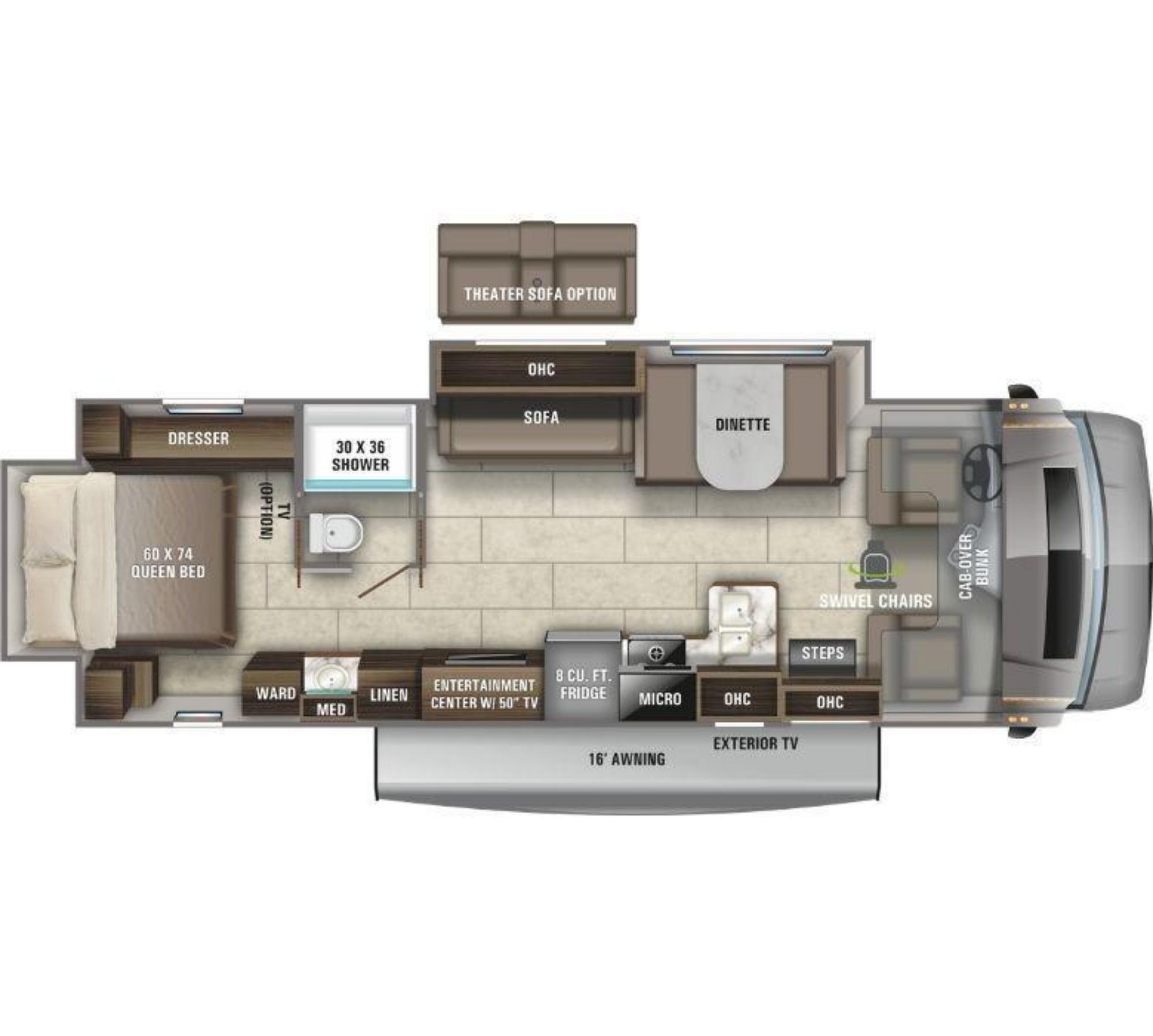 View Floor Plan for 2021 ENTEGRA COACH ODYSSEY 30Z