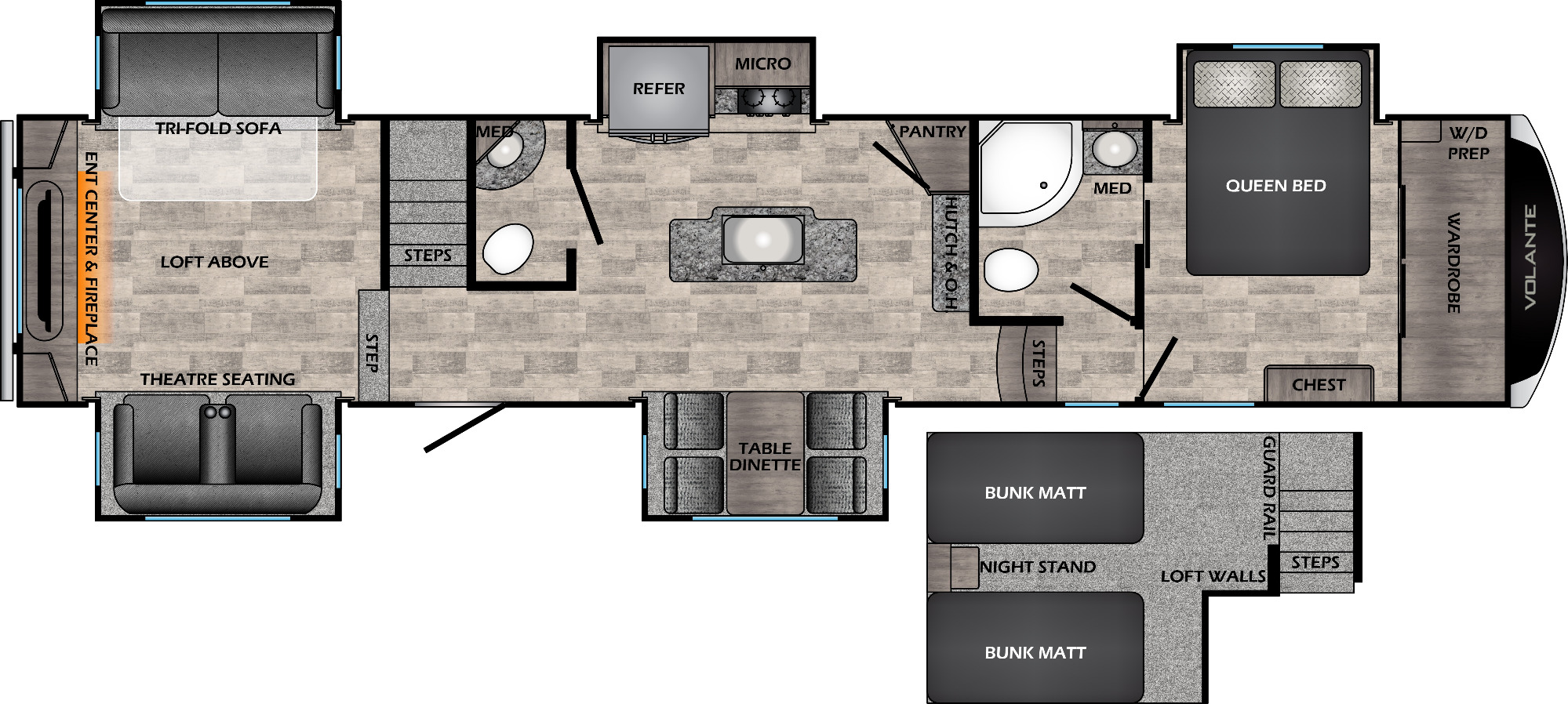 View Floor Plan for 2021 CROSSROADS VOLANTE 3861BL