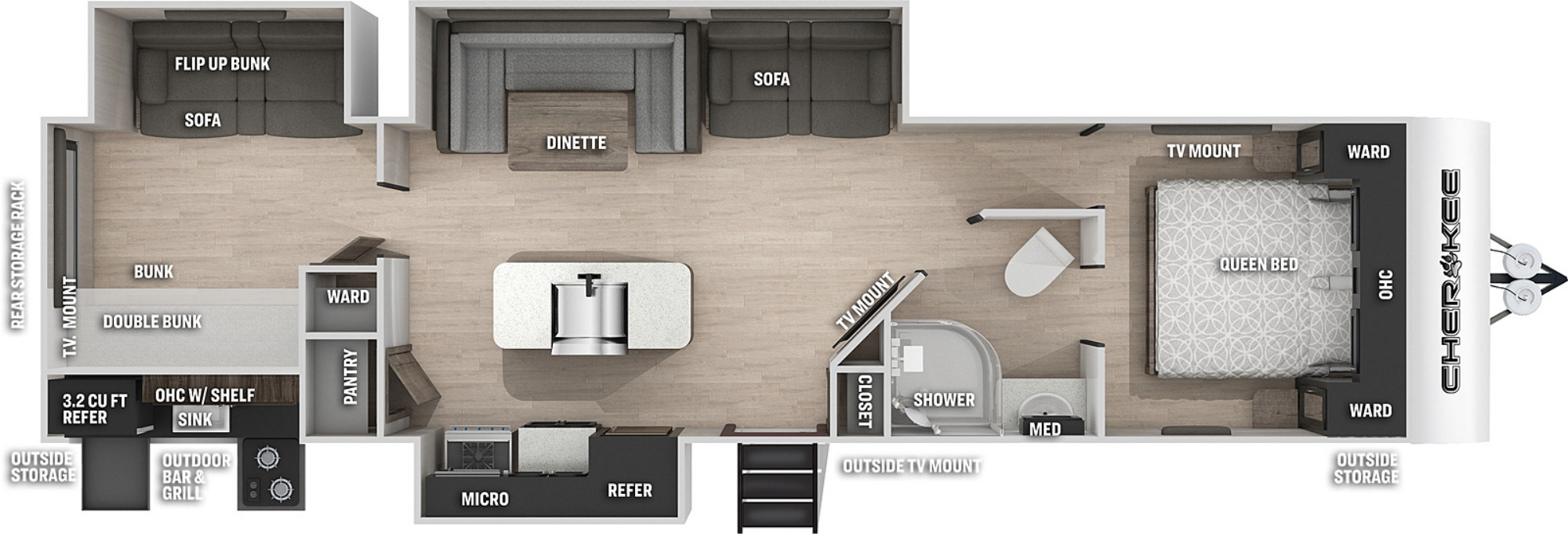 View Floor Plan for 2021 FOREST RIVER CHEROKEE BLACK LABEL 304BHBL