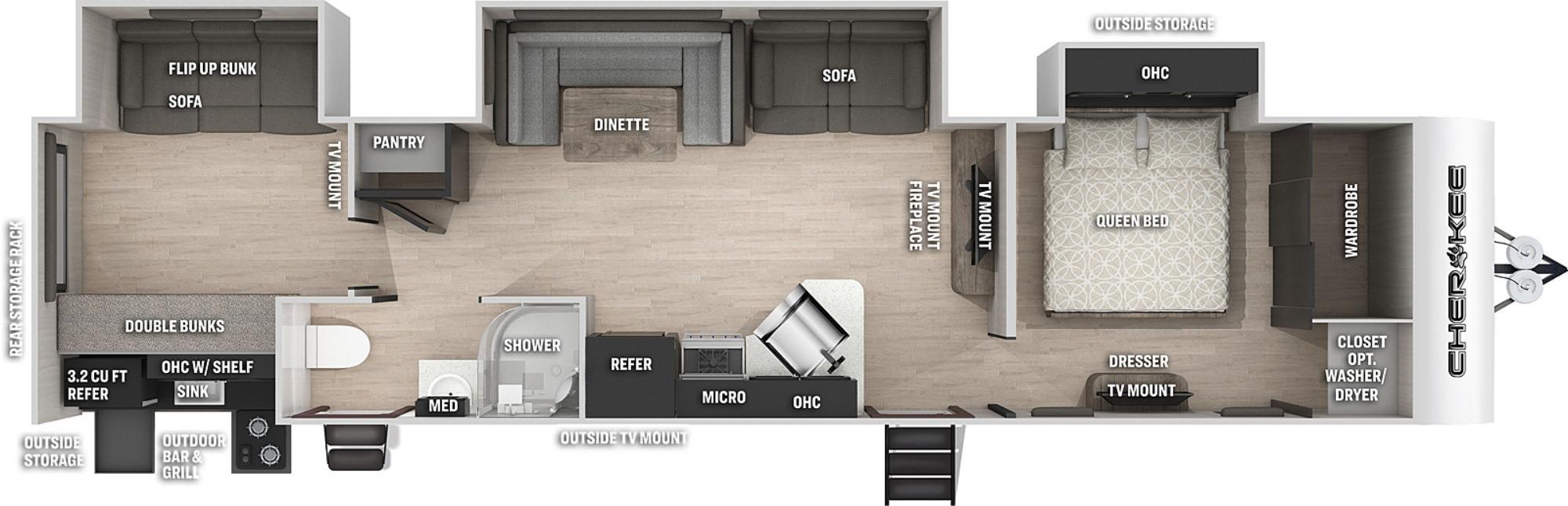 View Floor Plan for 2021 FOREST RIVER CHEROKEE BLACK LABEL 324TSBL
