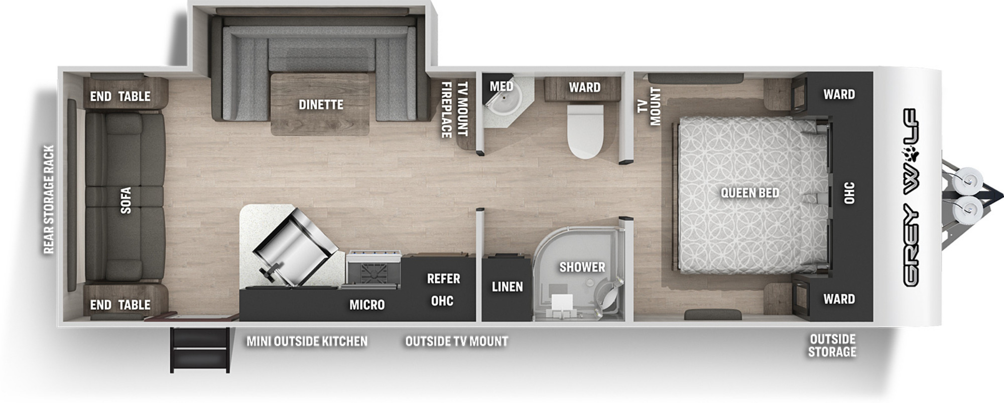 View Floor Plan for 2021 FOREST RIVER GREY WOLF BLACK LABEL 23MKBL