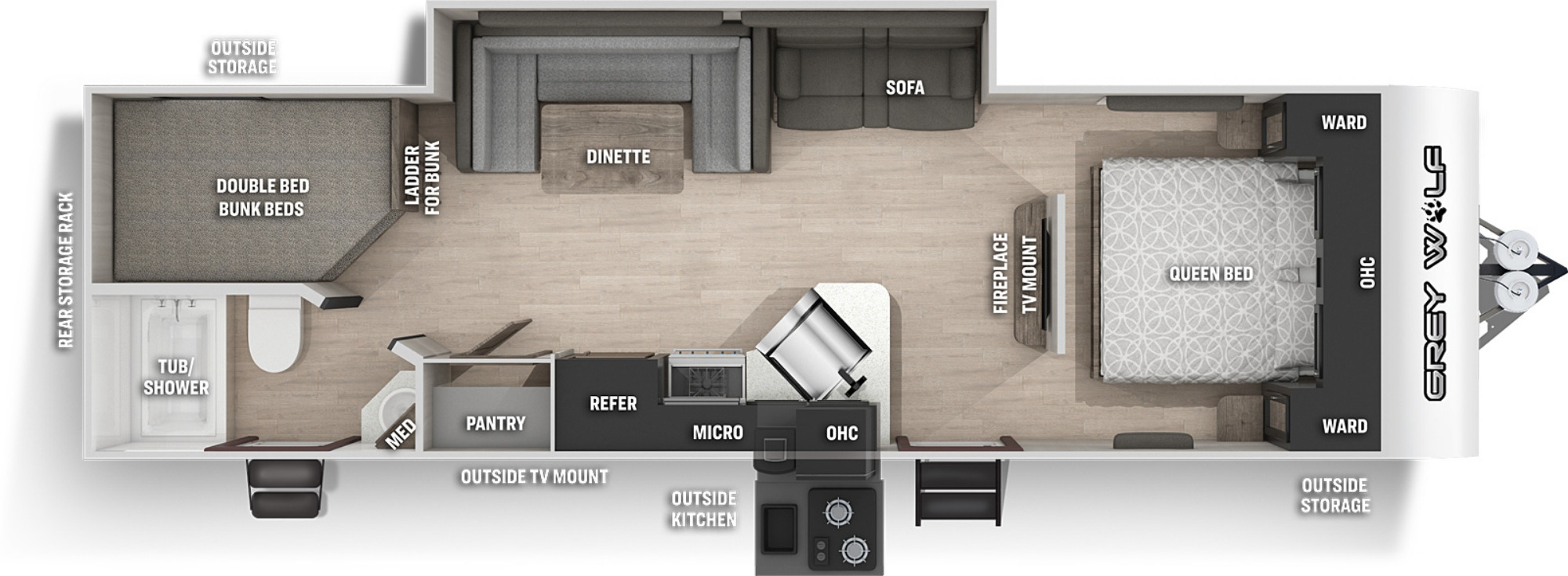 View Floor Plan for 2021 FOREST RIVER GREY WOLF BLACK LABEL 26DBHBL