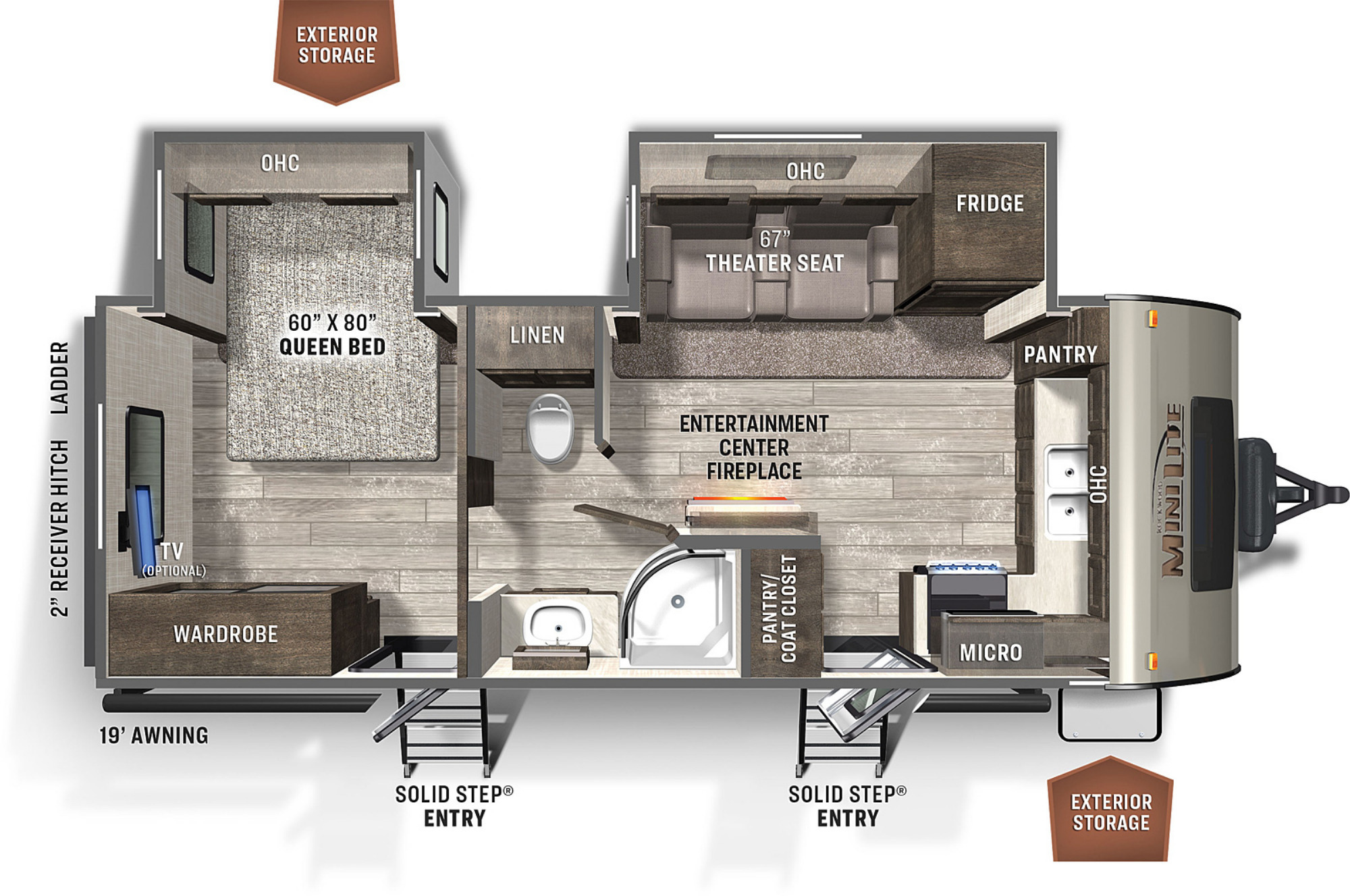 View Floor Plan for 2021 FOREST RIVER ROCKWOOD MINI LITE 2516S