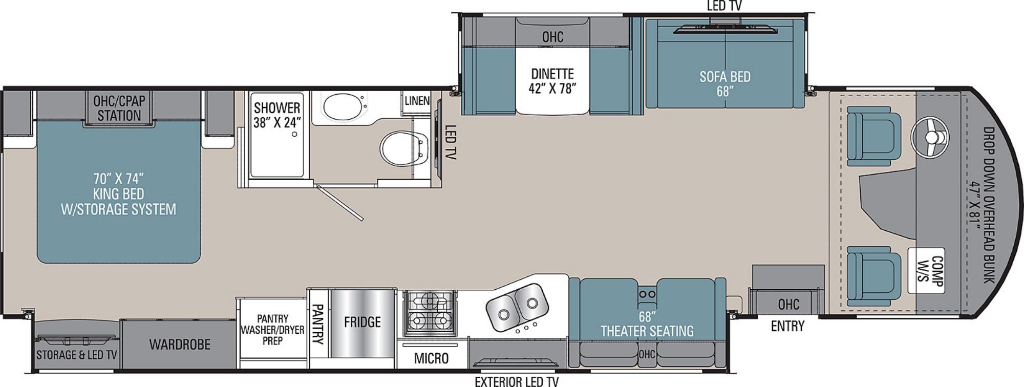 View Floor Plan for 2020 COACHMEN MIRADA 35OS