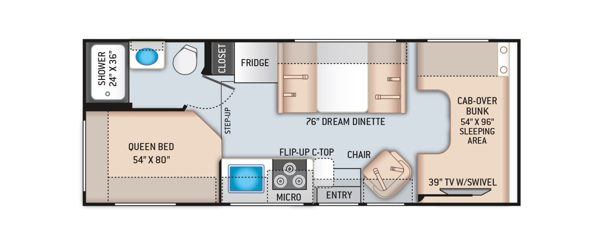 View Floor Plan for 2022 THOR COLEMAN 23CMF
