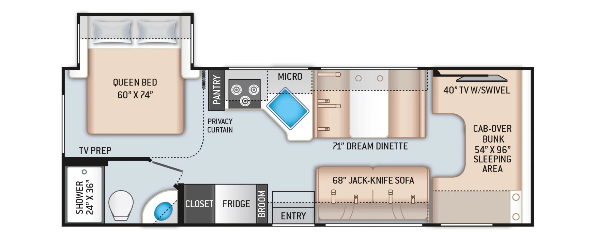 View Floor Plan for 2022 THOR COLEMAN 26CM