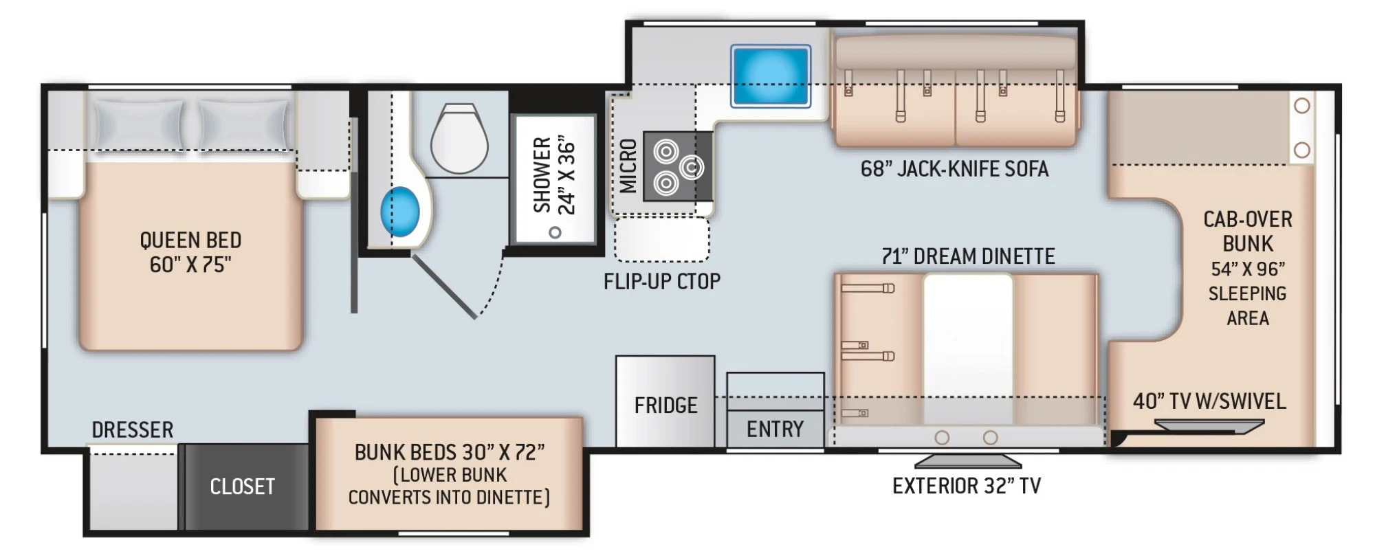 View Floor Plan for 2022 THOR COLEMAN 30CM