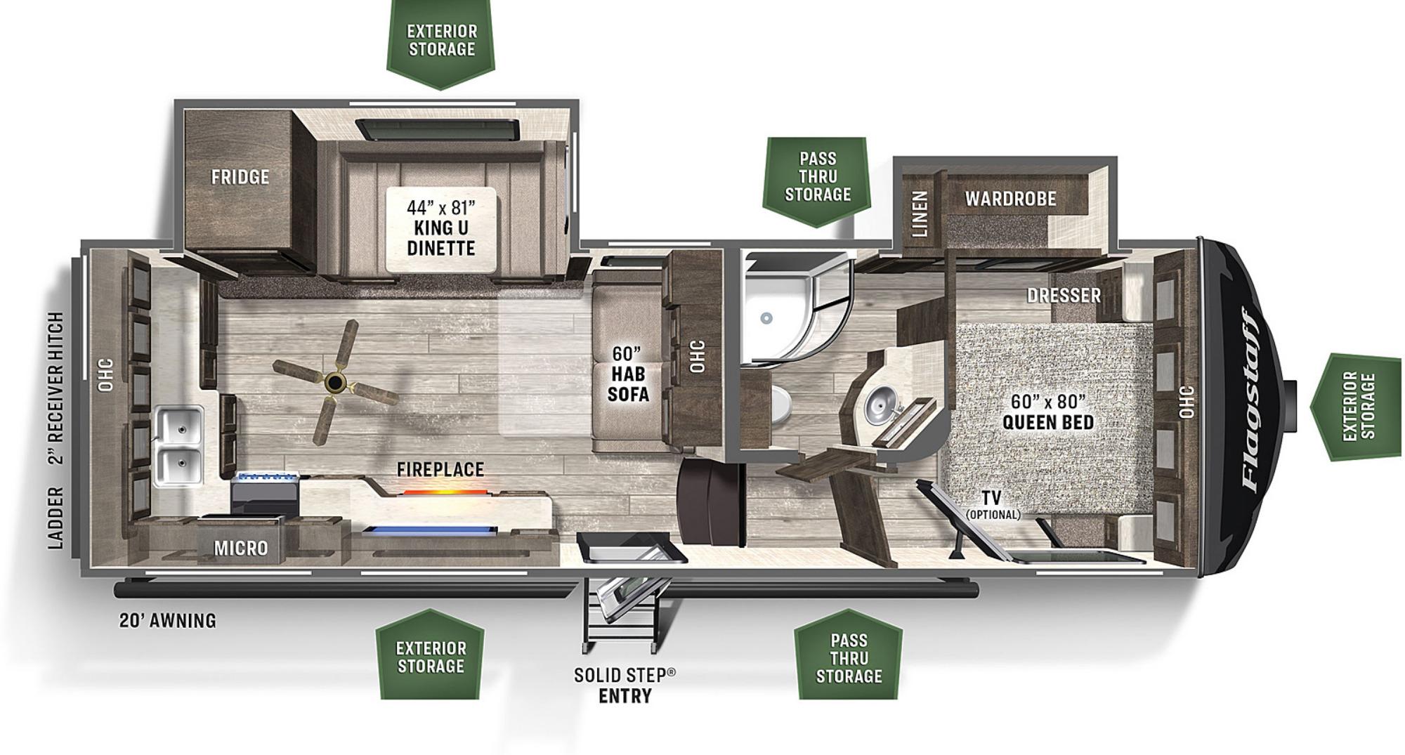 View Floor Plan for 2021 FOREST RIVER FLAGSTAFF SUPER LITE 526RK
