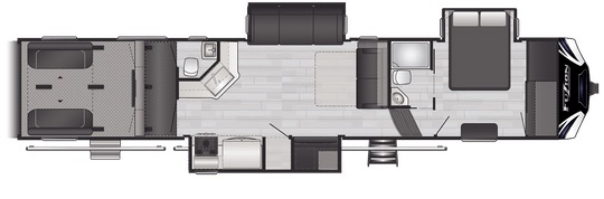 View Floor Plan for 2021 KEYSTONE FUZION 428