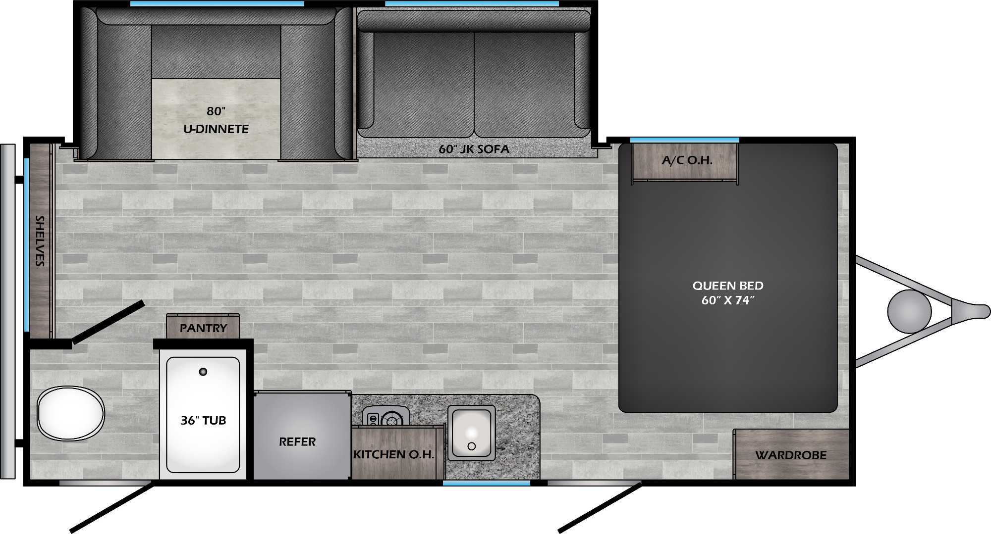 View Floor Plan for 2021 CROSSROADS ZINGER 18DS