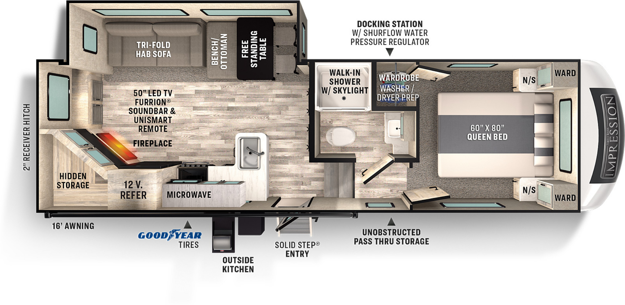 View Floor Plan for 2021 FOREST RIVER IMPRESSION 240RE