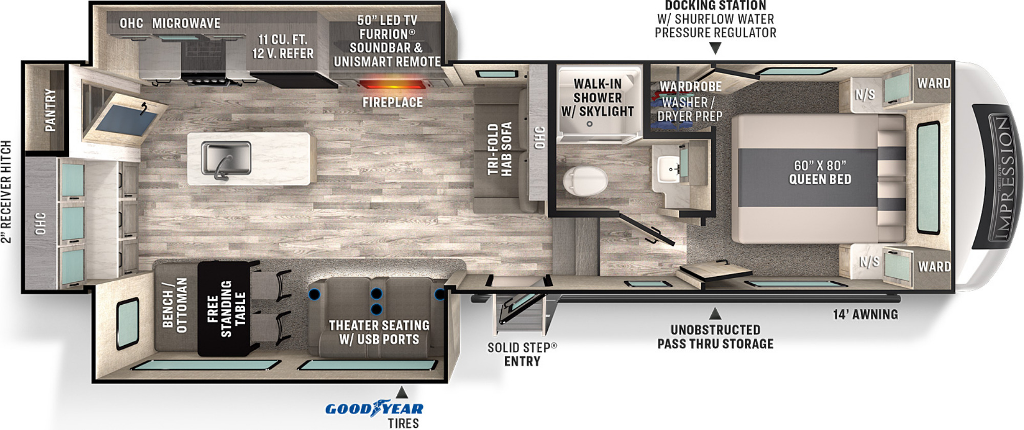 View Floor Plan for 2021 FOREST RIVER IMPRESSION 270RK
