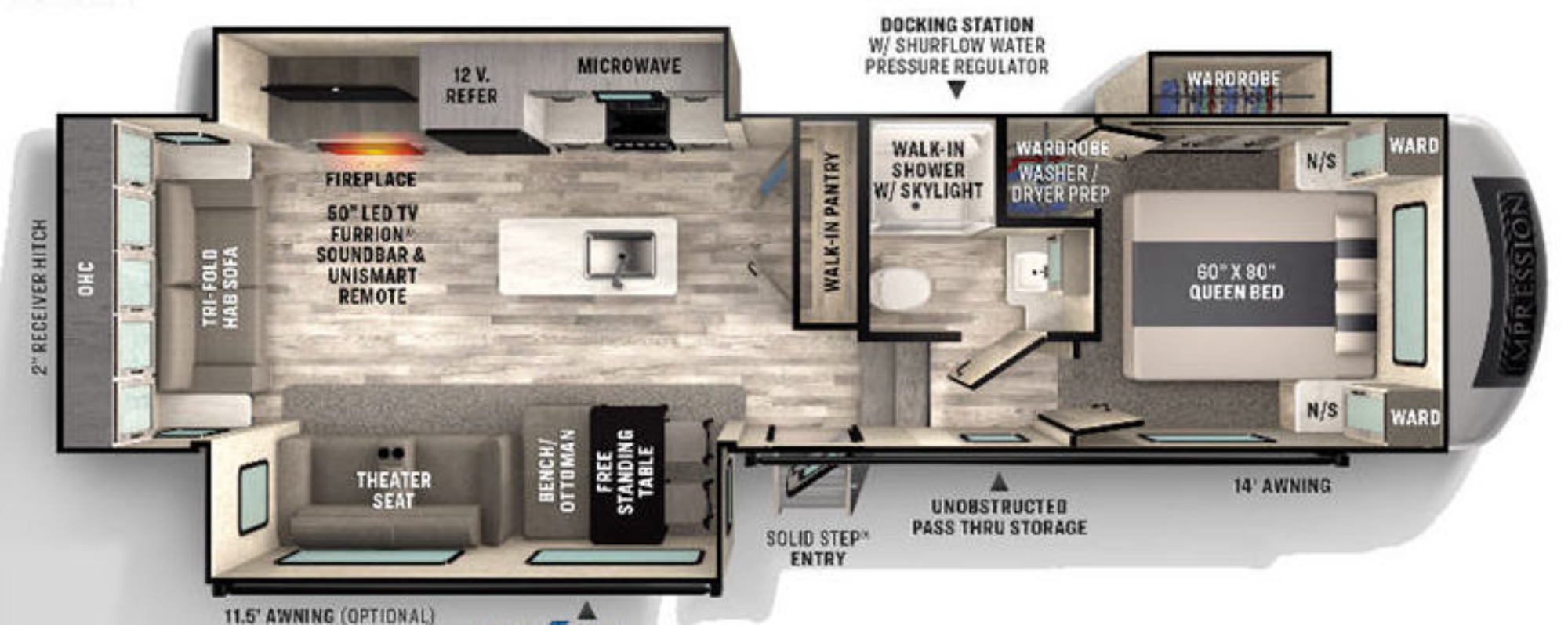 View Floor Plan for 2021 FOREST RIVER IMPRESSION 280RL