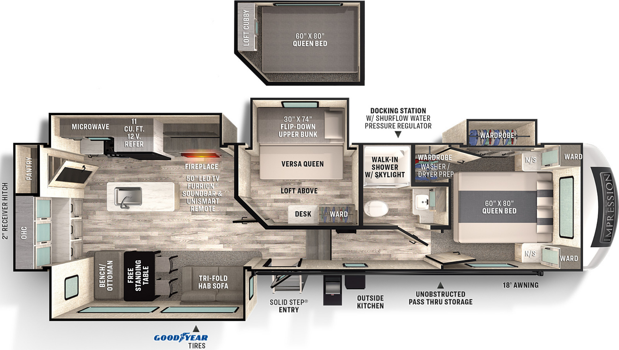 View Floor Plan for 2021 FOREST RIVER IMPRESSION 315MB