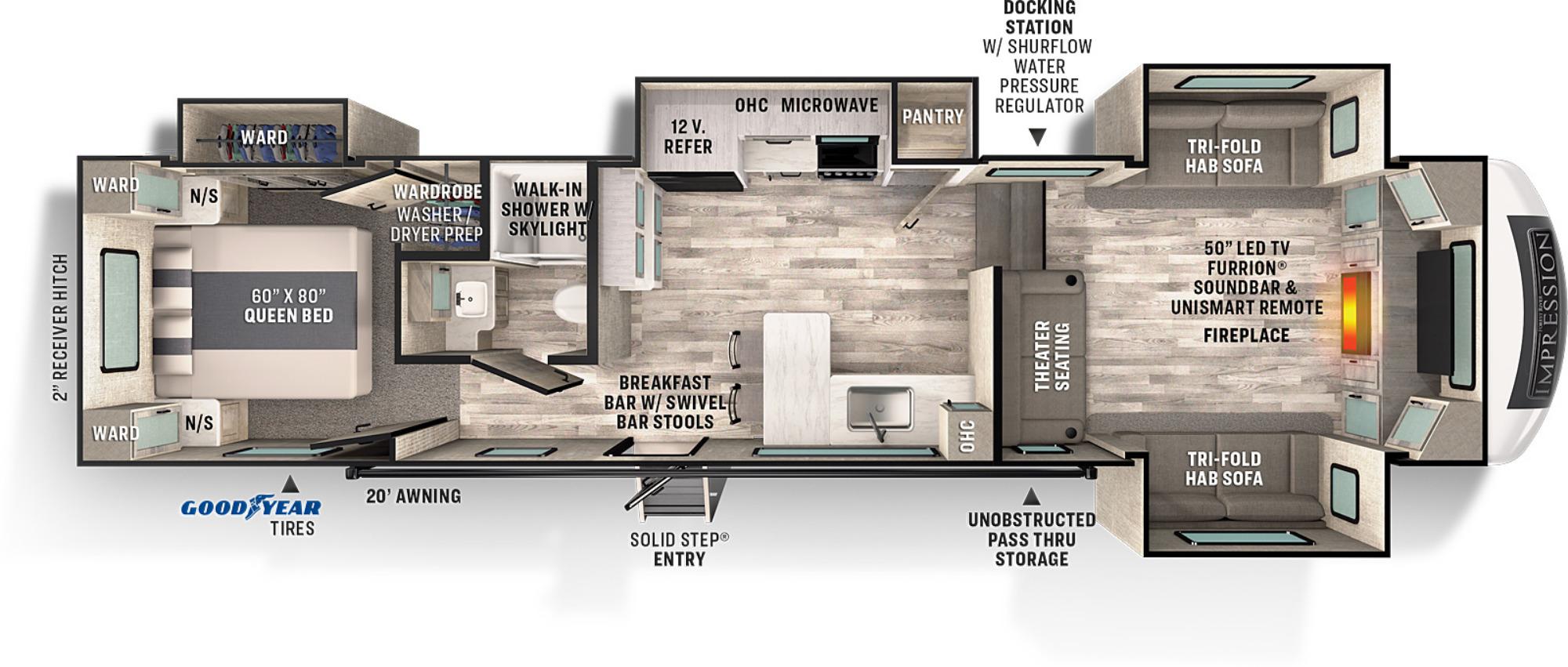 View Floor Plan for 2021 FOREST RIVER IMPRESSION 320FL