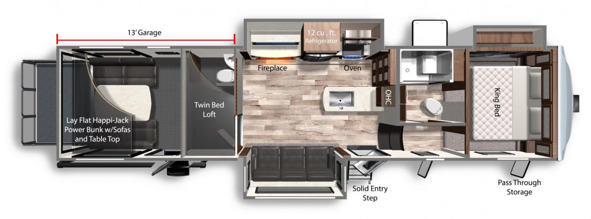 View Floor Plan for 2021 DUTCHMEN TRITON 3571