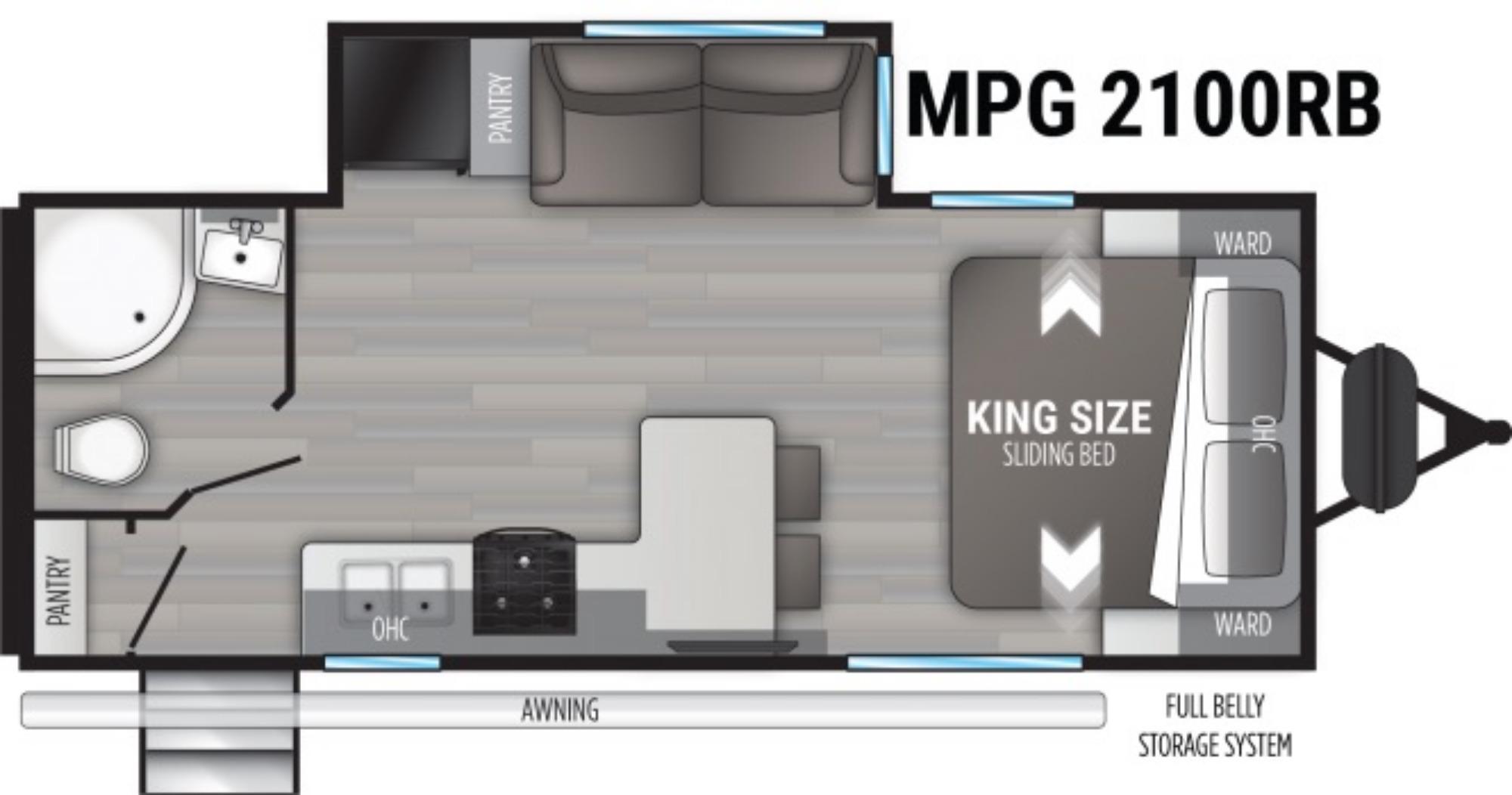 View Floor Plan for 2021 CRUISER RV MPG 2100RB